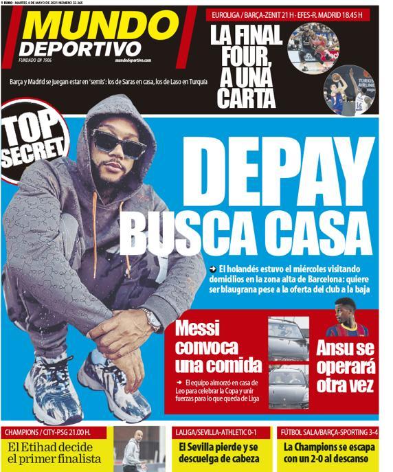 世体封面:德佩想去巴萨,上周三已在巴塞罗那富人区找房子