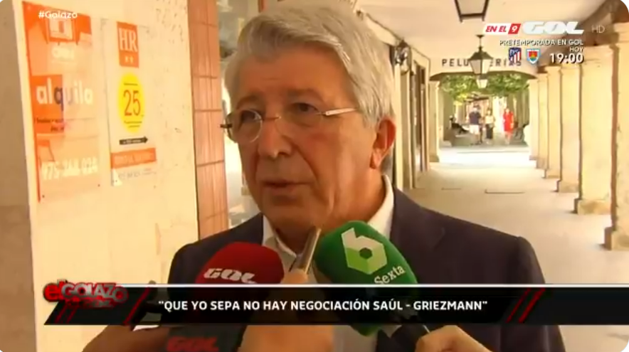 马竞主席:据我所知,目前格列兹曼萨乌尔互换交易不存在