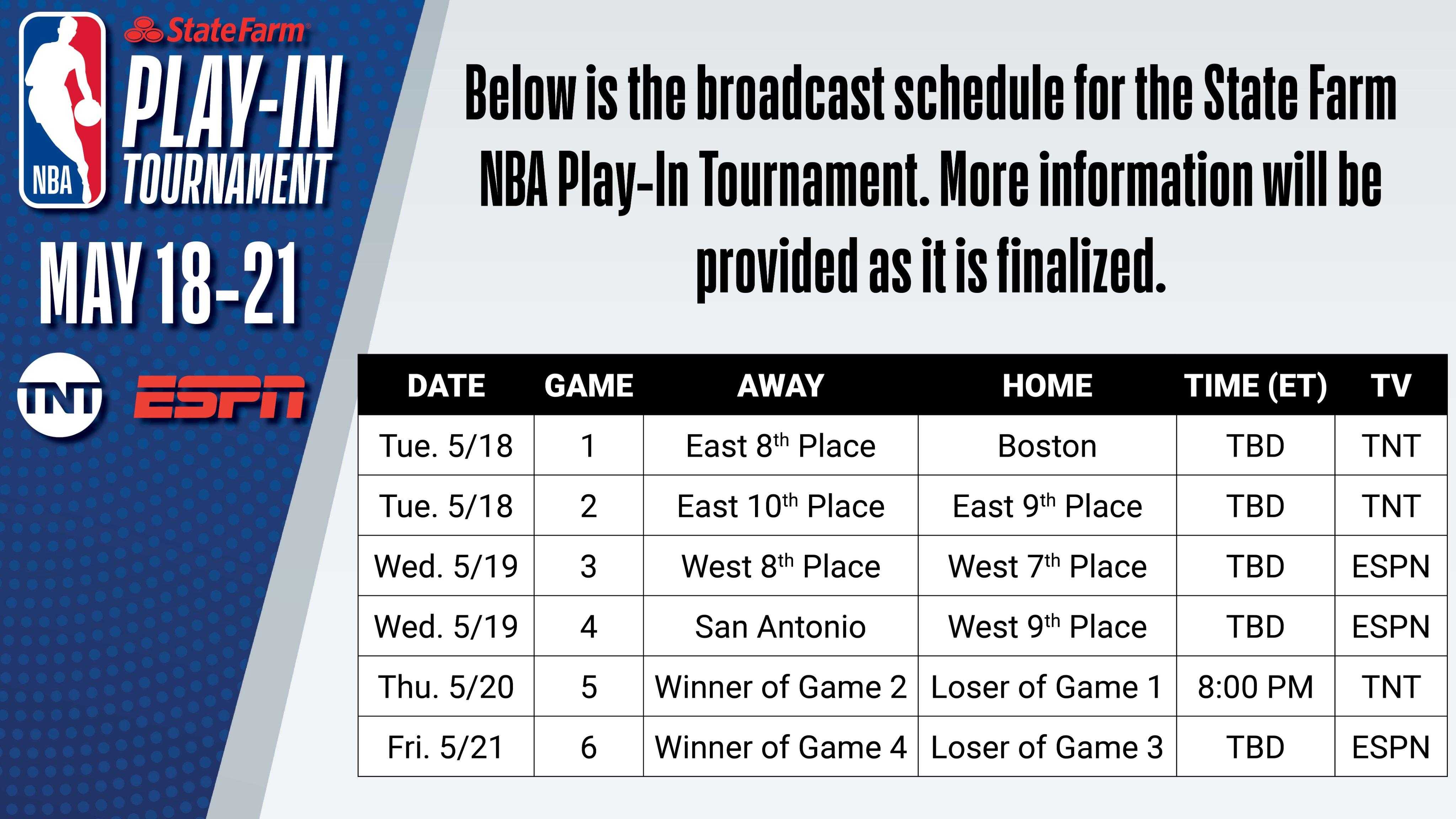 NBA官方公布附加赛赛程:5月19日-22日总计进行6场比赛