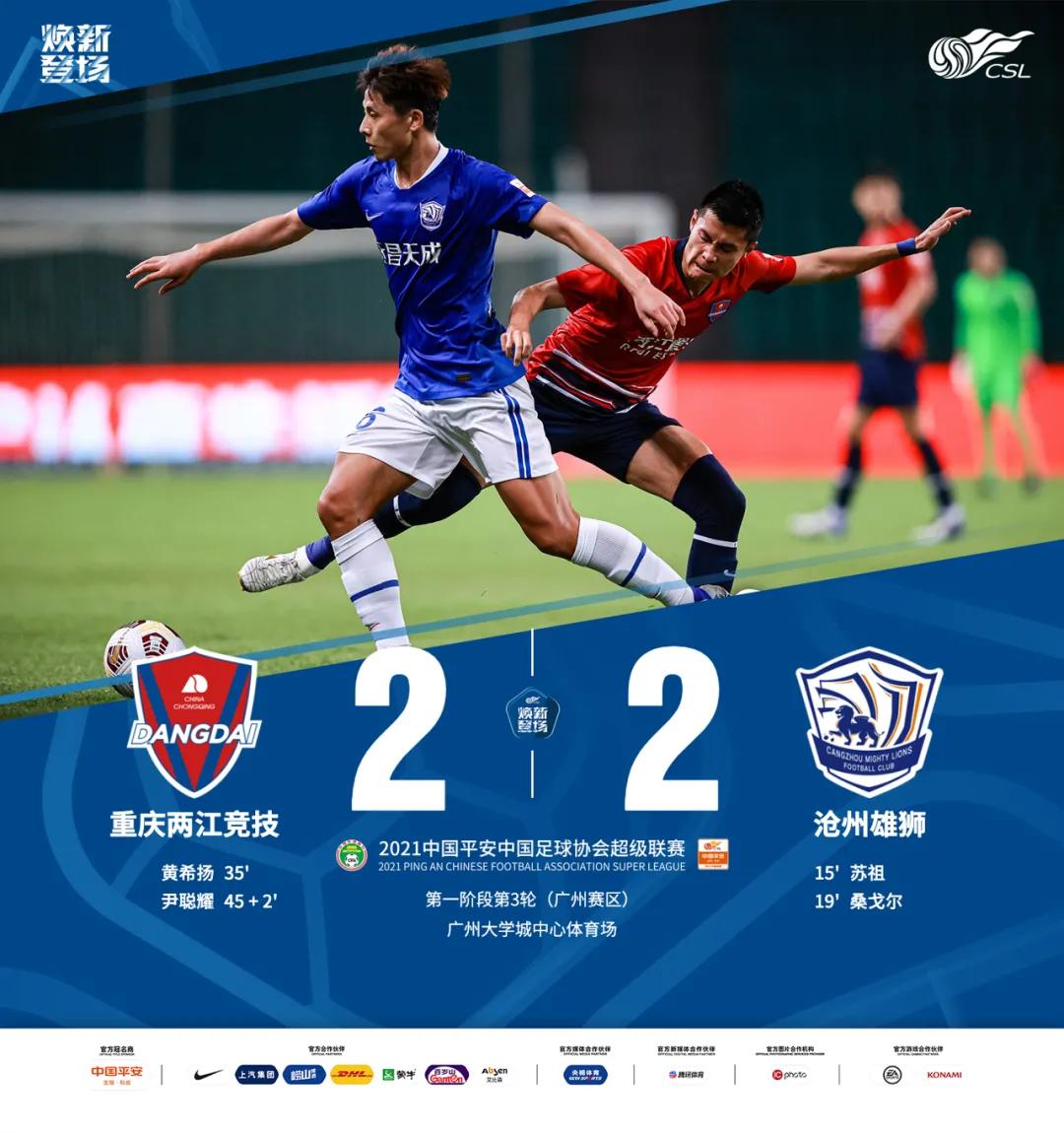 重庆2-2沧州数据:沧州传控近两倍于对手,重庆破门机会更多