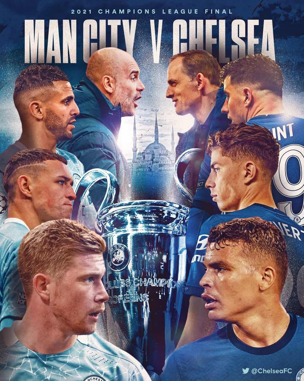 切尔西官推发布欧冠决赛海报:还差一步