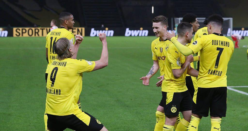 德国杯:桑乔两射一传哈兰德双响,多特4-1莱比锡成功夺冠
