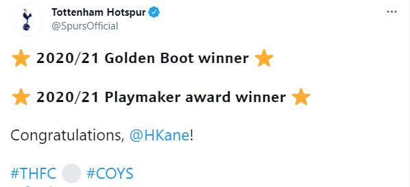 热刺官推祝贺凯恩包揽英超金靴+助攻王:祝贺你凯恩!插图
