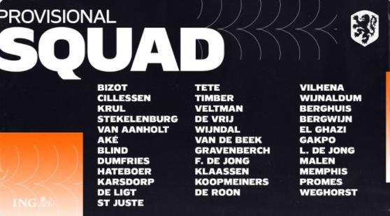 荷兰国家队欧洲杯集训名单:德容领衔,范德贝克、德佩入选