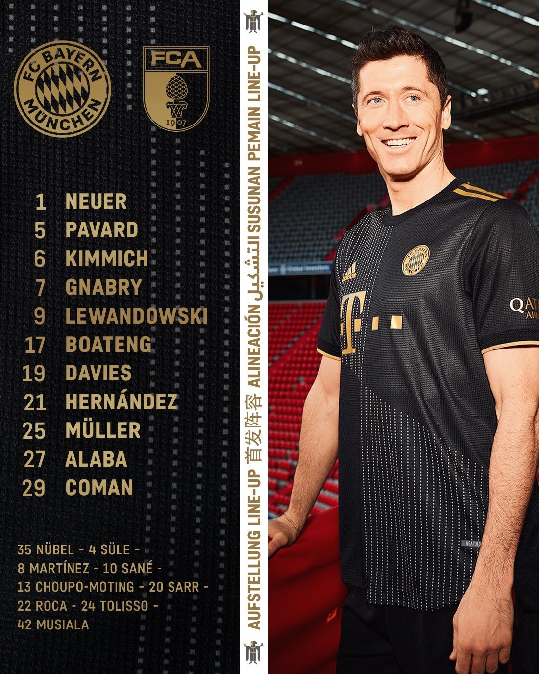 拜仁VS奥格斯堡首发:阿拉巴博阿滕领衔