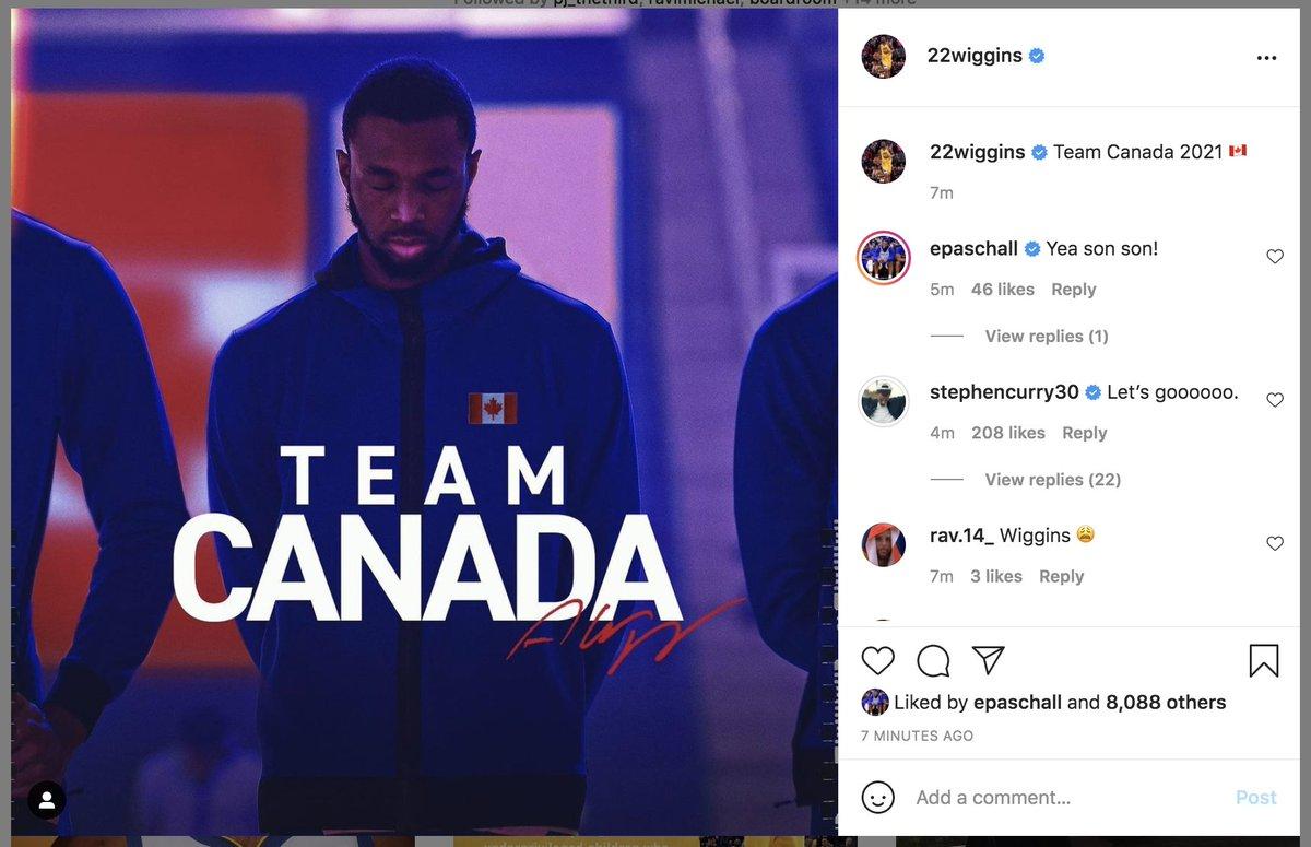 威金斯Ins晒照承诺自己将代表加拿大出战奥运会落选赛