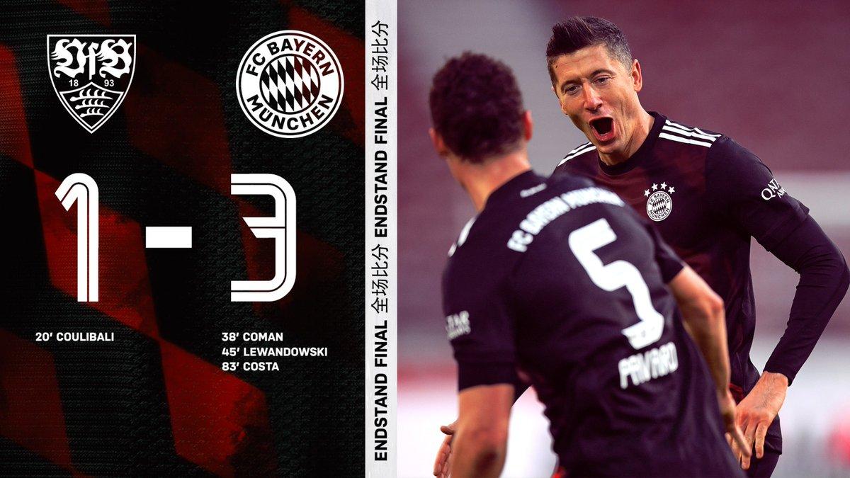 拿捏!拜仁第65次在德甲中战胜斯图加特,平队史纪录