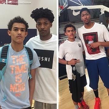 NBA相关媒体Sports Center在Instagram上发布了一组老鹰球员特雷-杨年少、青年时期与其时已征战联盟的球员们的合影