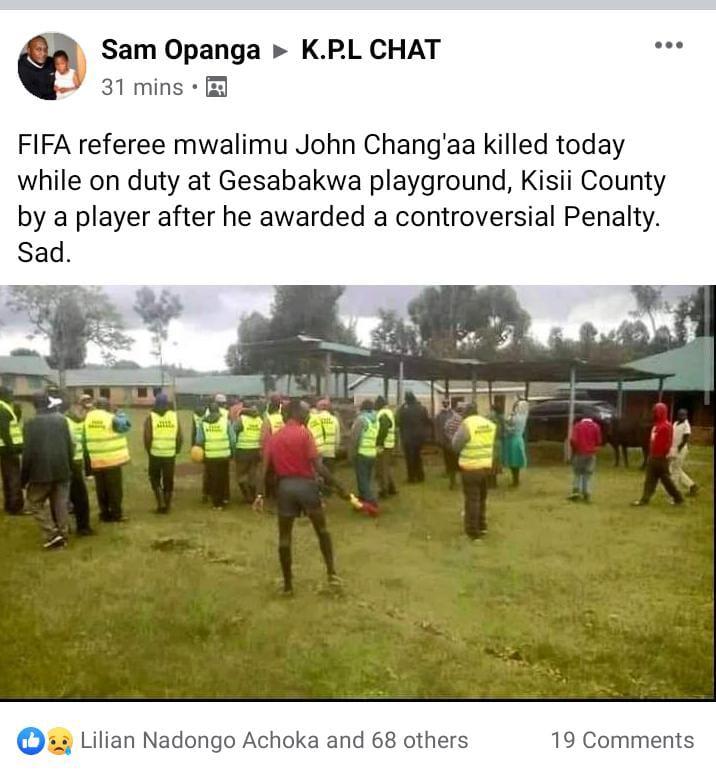 必须严惩!肯尼亚一裁判因判罚引起球迷不满被当场打死