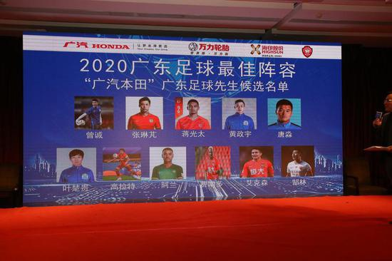 广东足球先生候选:蒋光太、费南多等五位规划球员入围