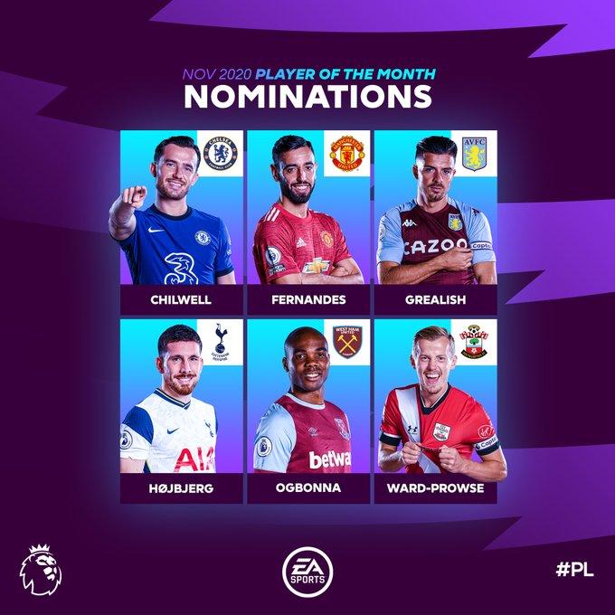 英超11月最佳球员候选:B费格雷利什奇尔韦尔赫伊别尔入选