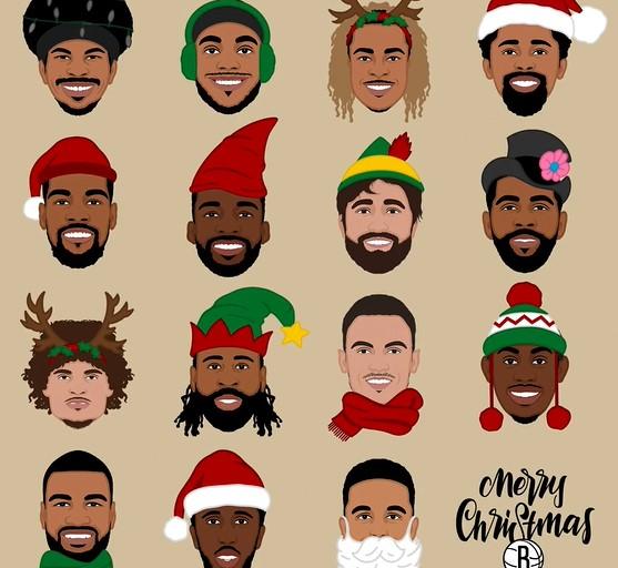 有点好看!篮网官方晒众球员的亚博体彩网卡通头像庆祝亚博体彩网亚搏体育平台官方圣诞节