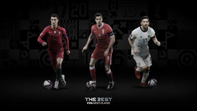FIFA年度最佳球员3人候选:C罗、莱万、梅西