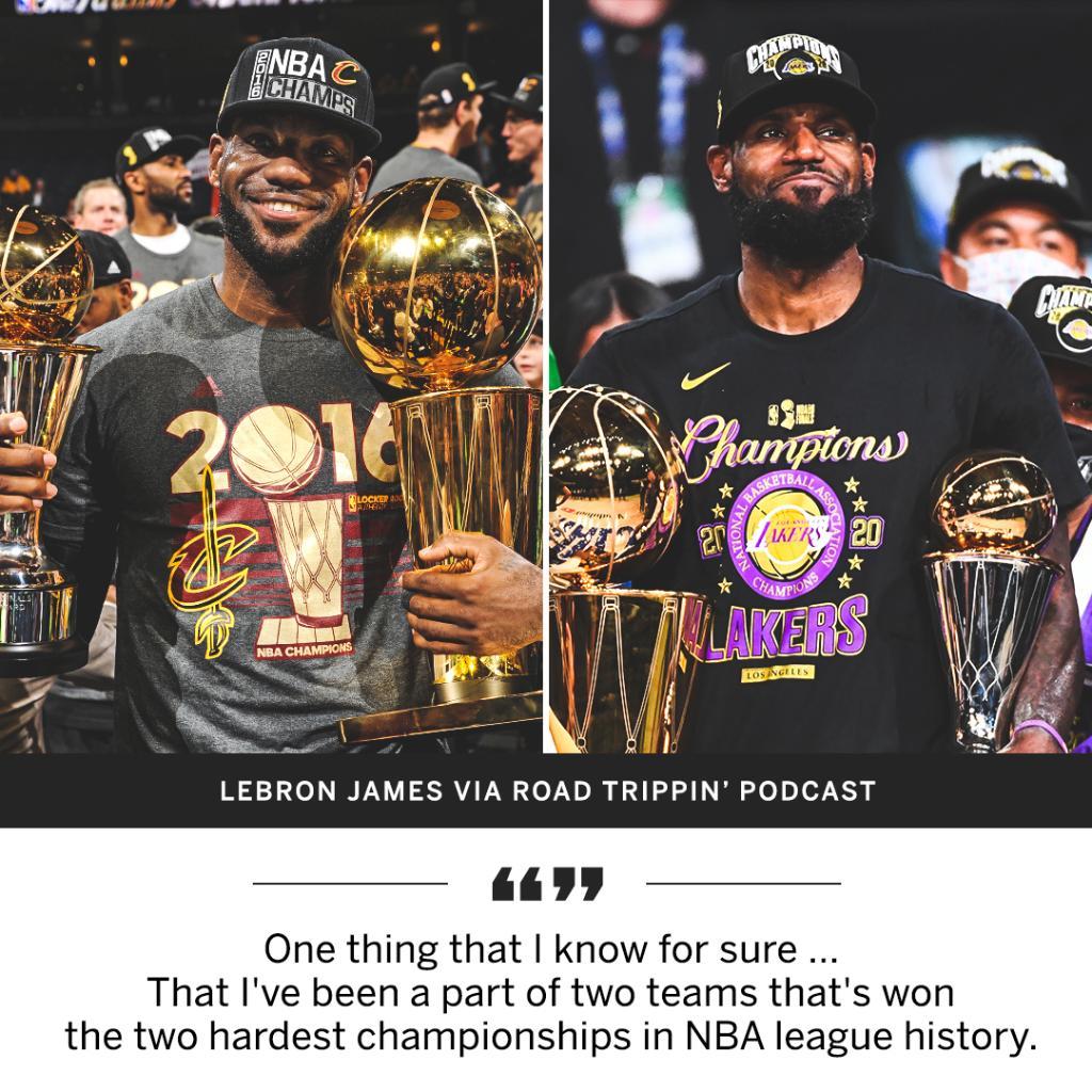 詹姆斯:我确信自己曾身处于历史最难的两支冠军球队之中