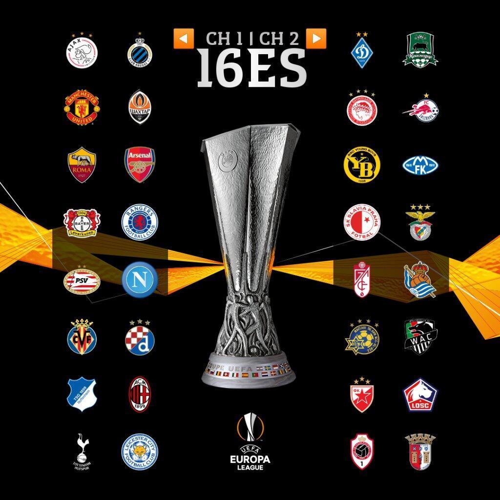 欧联杯32强出炉:曼联、枪手、热刺、AC米兰等豪强入围