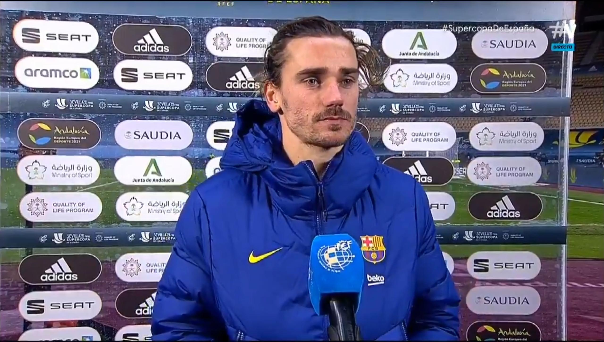 格列兹曼:我没看到梅西的犯规,防守的时分咋都没人喊的