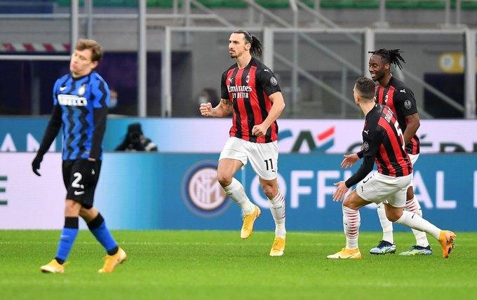 GIF:伊布射门击中立柱弹进球门,米兰取得领先