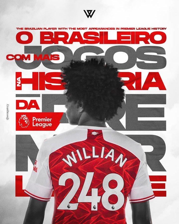 威廉发文:很自豪成为英超历史上,出场次数最多的巴西球员