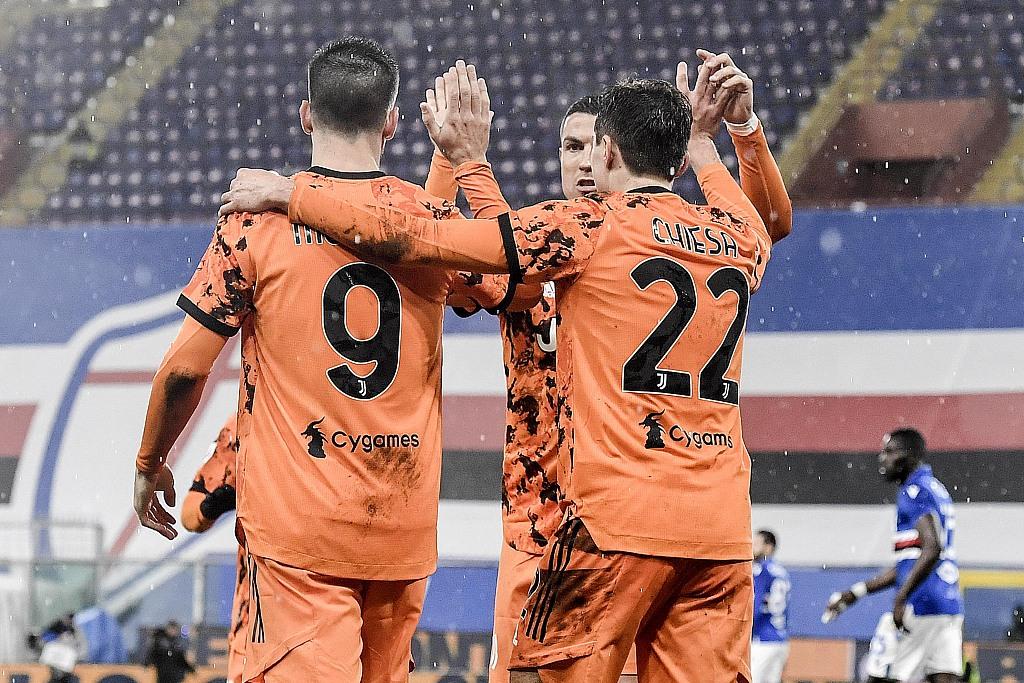 C罗策动两球小基耶萨拉姆塞破门,尤文客场2-0桑普
