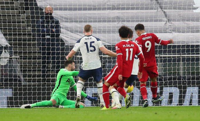 马内助攻菲尔米诺破门,利物浦中场前获得抢先
