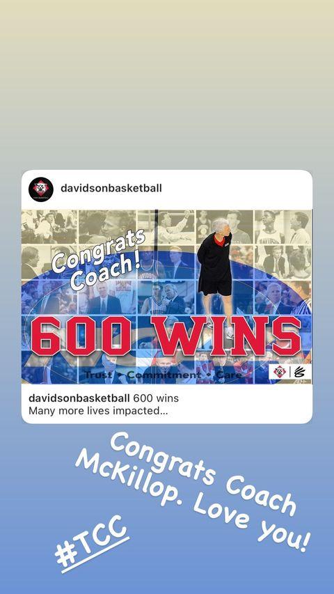 库里更新Ins,恭喜自己大学时的主帅迈克基洛普取得600胜插图