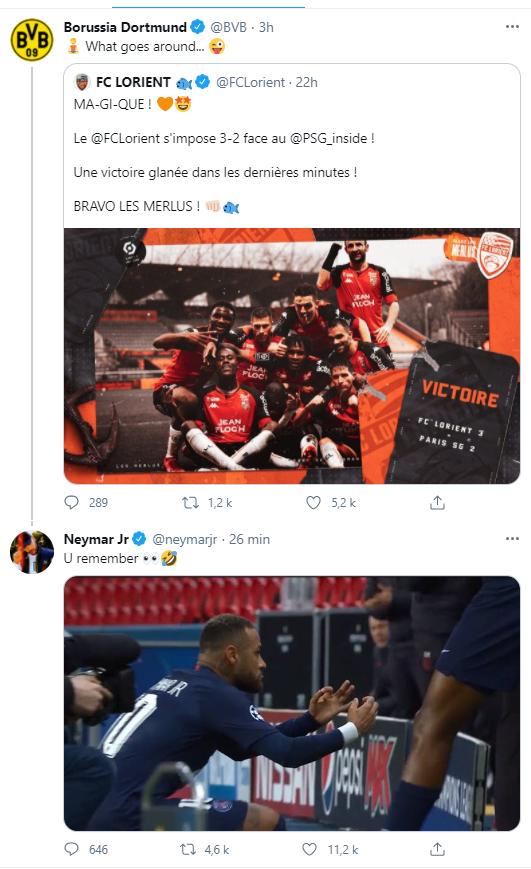 巴黎法甲联赛中3-2败给了洛里昂,随后多特蒙德官博在推特转发了洛里昂的文章