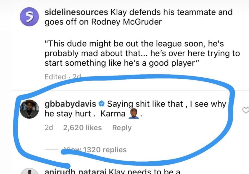 格伦-戴维斯称克莱活该受伤,克莱回应:下赛季打爆你