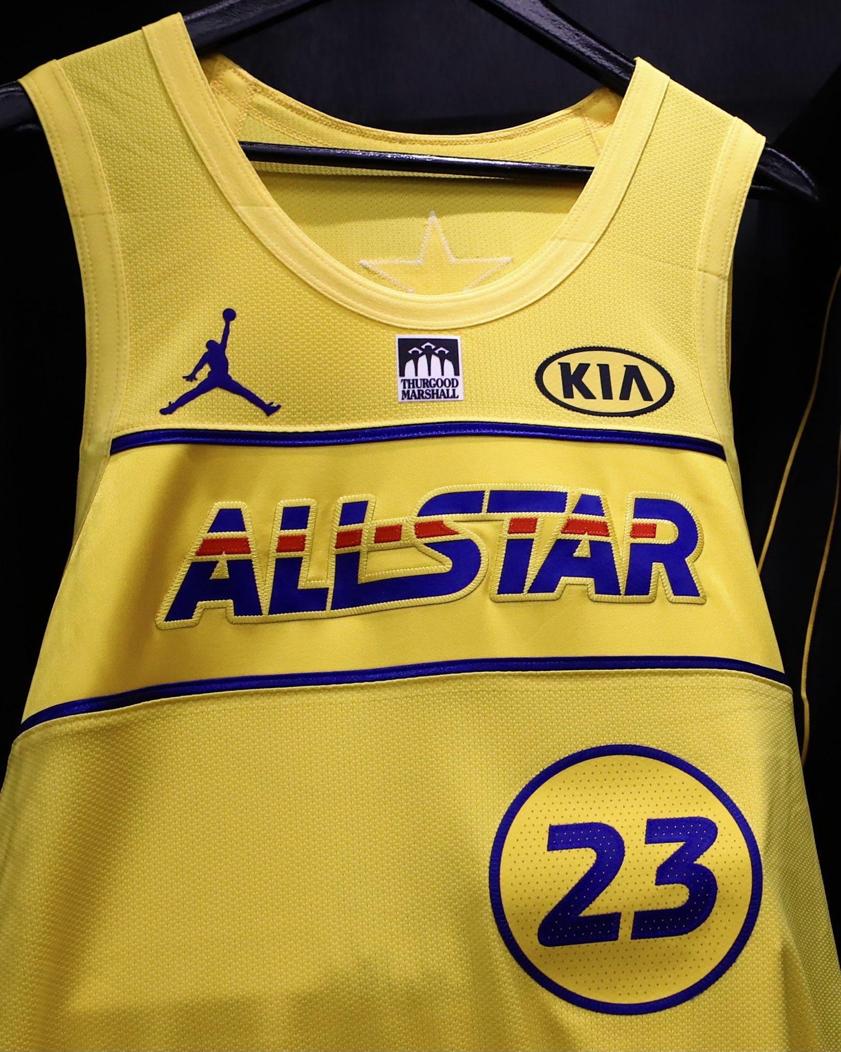 NBA官推晒出本届全明星赛球衣:勒布朗队黄色,杜兰特队蓝色