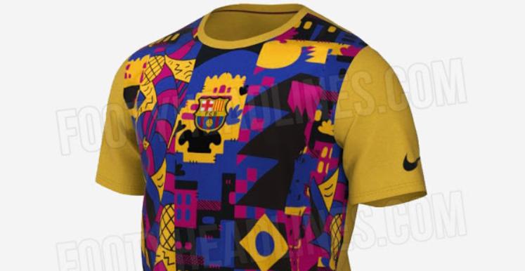 巴萨第三客场球衣曝光,不规则撞色拼接图案