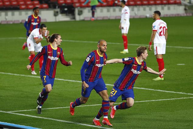 国王杯:登贝莱皮克破门,巴萨3-0两回合3-2逆转塞维进决赛