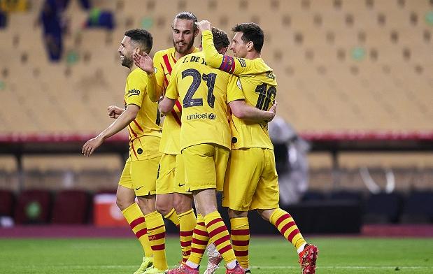国王杯:梅西双响德容两传一射,巴萨4-0毕尔巴鄂竞技夺冠军