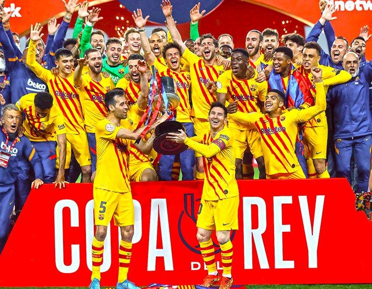 巴萨31座国王杯傲视群雄,梅西当队长后首夺国王杯