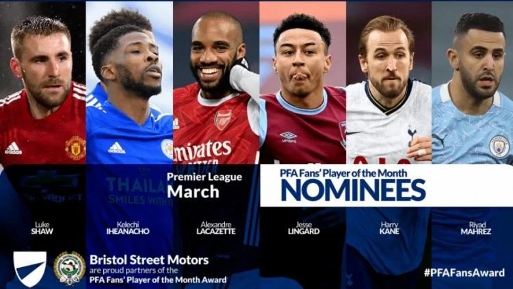 PFA三月最佳球员候选:林加德领衔,凯恩、卢克-肖入选插图