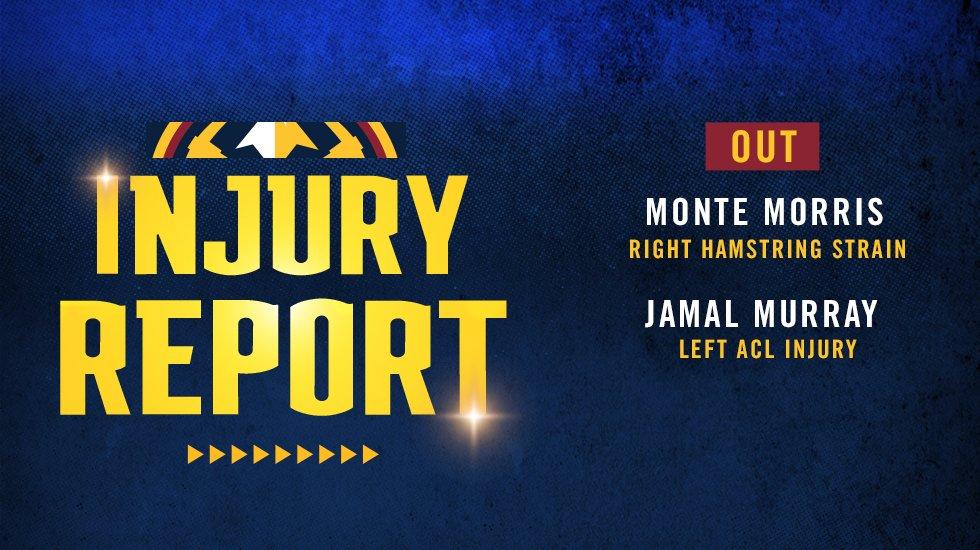 明日掘金对阵灰熊:贾马尔-默里和蒙特-莫里斯缺阵