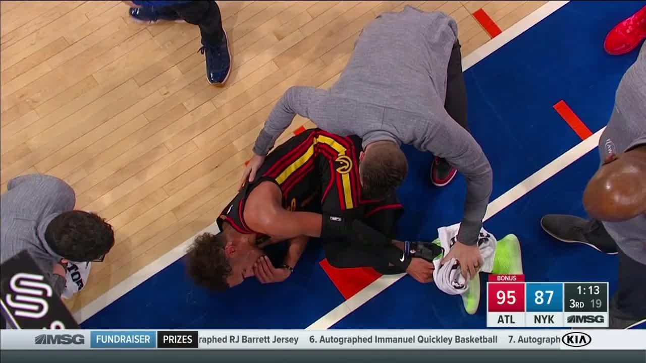 特雷-杨左脚踝受伤,本场比赛不会回归