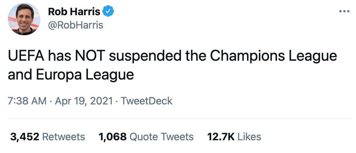 辟谣!本赛季欧冠欧联暂停是假新闻