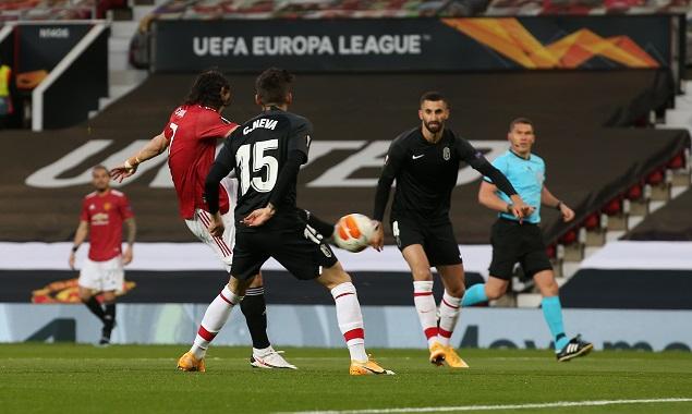 欧联:卡瓦尼破门特莱斯造乌龙,曼联总分4-0格拉纳达进四强