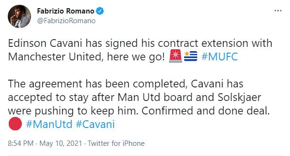 罗马诺:卡瓦尼已经与曼联完成续约