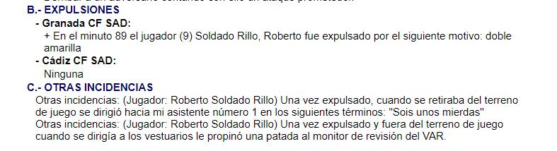 索尔达多被罚下后脚踢VAR监视器,恐禁赛4场,赛季提前结束插图(1)