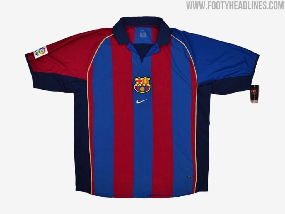 巴萨2022-23球衣谍照发布,设计似致敬2001-02赛季插图(1)