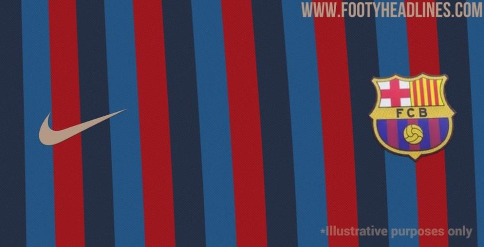 巴萨2022-23球衣谍照发布,设计似致敬2001-02赛季插图